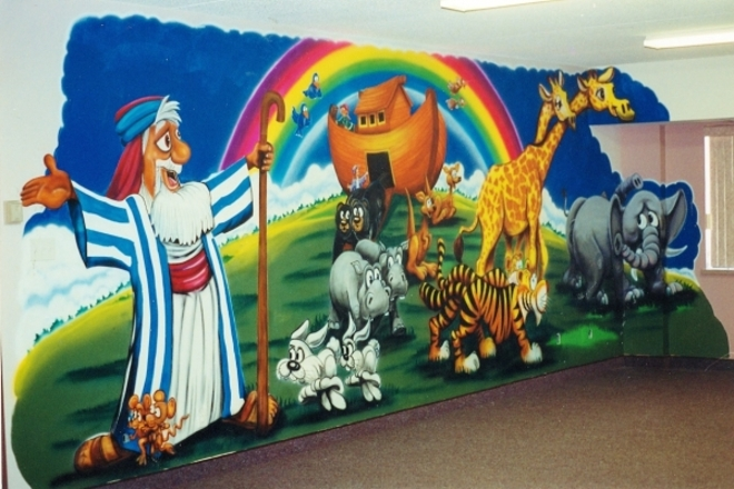 Jerry 39 s airbrush noah 39 s ark wall murals for Church nursery mural